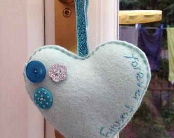 Adoption gift, felt heart, Christmas decoration