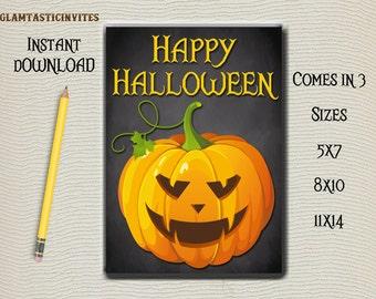 Halloween Sign, Digital Sign, Happy Halloween Sign, Halloween Decor, Pumpkin Sign, Halloween Chalkboard Sign, Chalkboard Sign, Fall Sign DIY