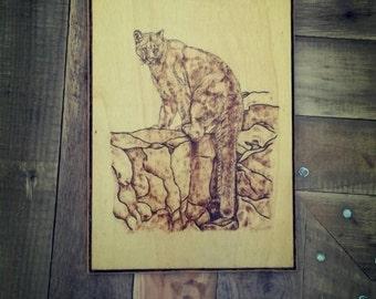 Woodburned sign, Woodburned cougar, Pyrography, Wall art, Woodburned plaque