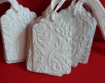 25 White embossed tags, Wedding tags, Favor tags, Blank tags, Paper tags, Gift tags, Wish tree tags