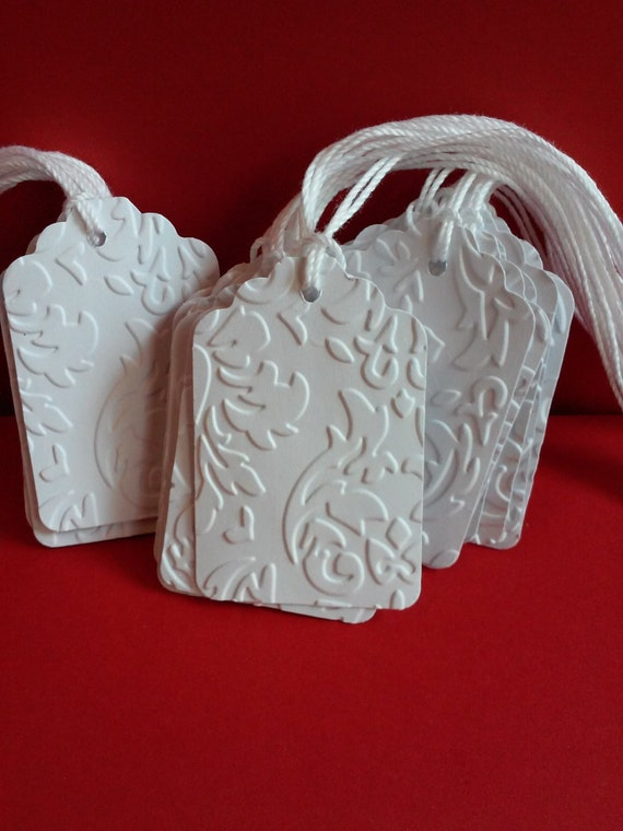 Embossed Wedding Gift Tags : ... embossed tags, Wedding tags, Favor tags, Blank tags, Paper tags, Gift