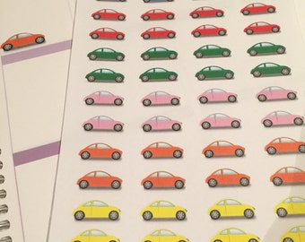 48 Multicolour Car Stickers for Planner, Diary, Journal, Notebook such as Erin Condren, Kikki K and Filofax.