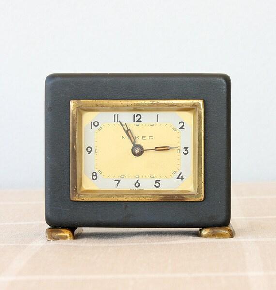 Vintage musical alarm clock German musical clock Old desk clock Wind up clock Mechanical clock Table clock Collectible Neker clock