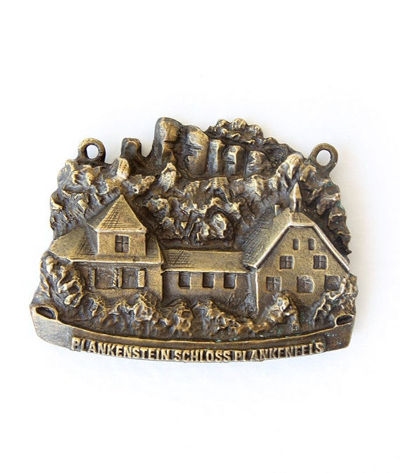 Vintage 1970's travel souvenir Metal Austria memory German medallion pendant Collectible Castle and rocks Plankenstein Schloss Plankenfels