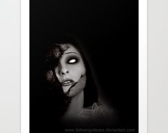 "Gothic Horror Art Print ""Even Angels Fall"" Original Art"