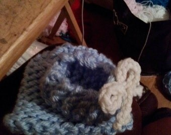 Handmade baby boy booties and BEANIE size 0-3 months
