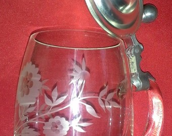 German drinking glass with hinged lid