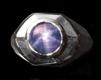 Estate Natural Blue Star Sapphire Ring 7.40ct 4kt White Gold