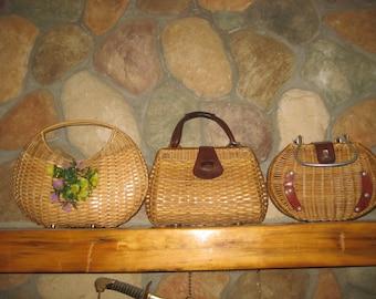 3 Beautiful Vintage 1960s Straw Purses Handbags Free Shipping