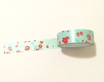 Red Flowers with Light Blue Background Washi Tape