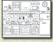 Printable Kitchen Coloring Page for Adults, PDF / JPG, Instant Download, Coloring Book, Coloring Sheet, Grown Ups, Digital Stamp