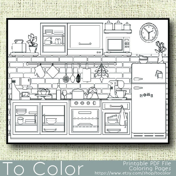 Items similar to Printable Kitchen Coloring Page for Adults PDF