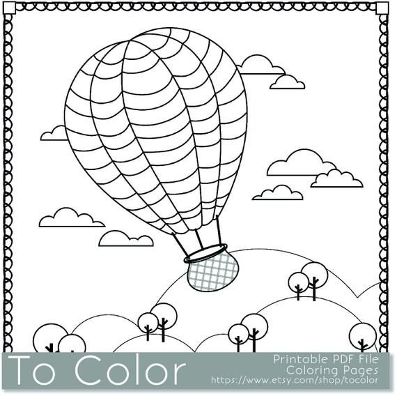 Items Similar To Printable Hot Air Balloon Coloring Page