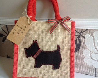Scottie Dog jute bag. Lunch bag/gift bag/present.