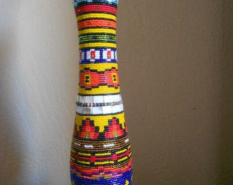 Large Native American Sioux Beaded Wood Vase,