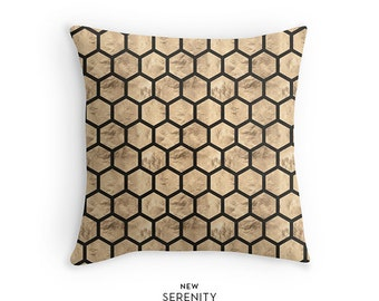 Pillow Cover, HoneyComb Pillow, Hexagon Pillow, Decorative Pillow, Cushion Cover, Home Decor, NewSerenityStudio