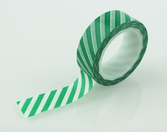 Green & White Diagonal Stripe Washi Tape // 15mm // Paper Tape // BBBsupplies {CR-W-S011}