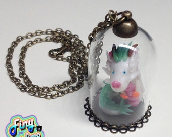 Necklace with glass dome chain