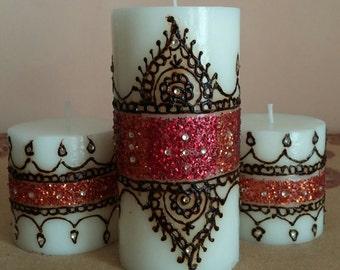 White, 3 piece Henna design candle set