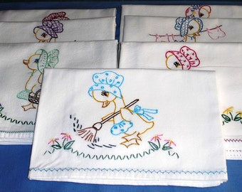 Hand embroidered tea towels, Seven all cotton hand embroidered tea towels