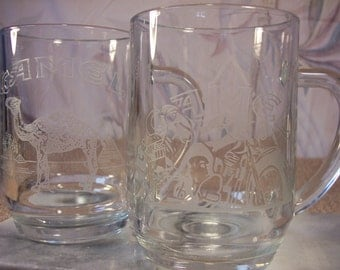 2 - 1991 Camel Etched Beer Glasses