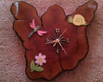 Child's room butterfly clock, add that special touch like no other you may have seen  45.00