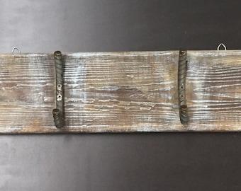 Primitive Handmade Reclaimed Wood Coat Rack Rusty Metal Hooks