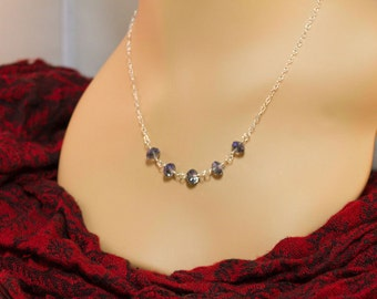 Sterling Silver and Crystal Bead Necklace
