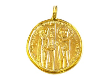 Ancient Byzantine Coin Solid 18K Yellow Gold Pendant Inspiration Byzantine Coin Contemporary Jewelry  Fine Jewelry Pendant FREE Shipping