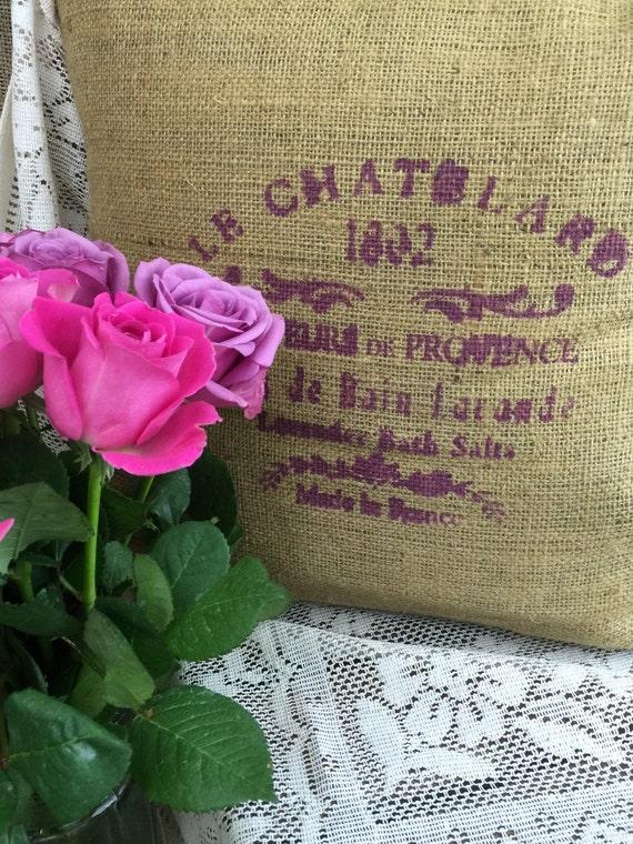 Le Chatelard 1802 Rustic Burlap Cushion // French Style // Hessian Jute Cushion // Hand Stenciled Cushion // Hand Printed Fabric Cushion //