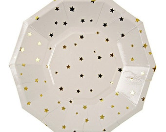 Gold foil star dessert plate - Set of 8.  Gold stars paper plates.  Twinkle Twinkle Little Star plate. Gold and white paper plate. NYE plate