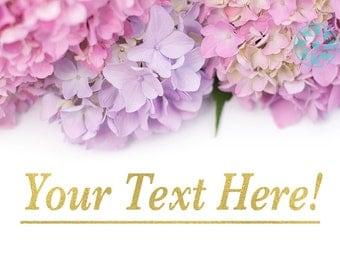 Styled Stock Photography | Pink & Purple Hydrangeas | Shop Banner | Virtual Storefront | Blog | Mockup | White Space Background | Marketing