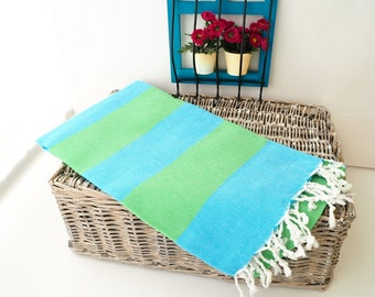 Overstock Sale ! Green and Turquoise Stripe Turkish Towel,Green Cotton Towel,Green Towel,Green Striped Peshtemal,Green Stireped Beach Towel
