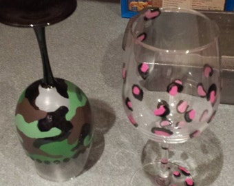 Hand painted with love and sass wine glasses