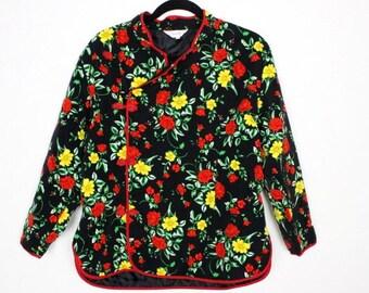 Vintage black floral Asian Chinese coat jacket