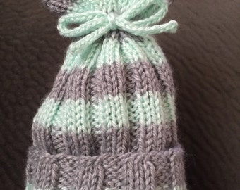 Knit Baby Hat - Light Gray & Teal/Mint w/Teal/Mint Bow