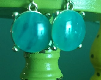 sea glass bauble earrings