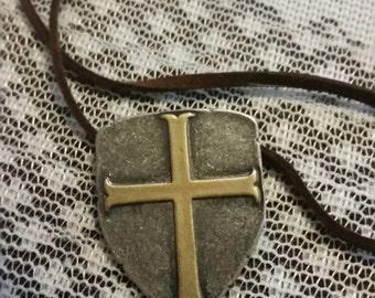 Men's shield necklace