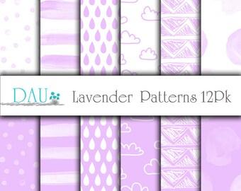 12 Pack Digital Download Pastel Lavender Patterns 12 x 12 300DPI Baby Shower Backgrounds Wedding Scrapbooks Card Design Paper Crafts