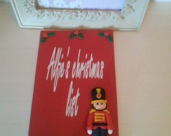 Personalised hand painted Christmas list plaque