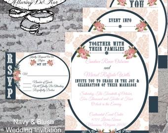 Navy & Blush Wedding Invitation Set
