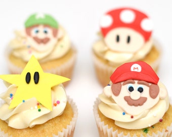 Fondant Mario Brothers Cupcake Toppers - Mario, Luigi, Toad and Star - Set of 12