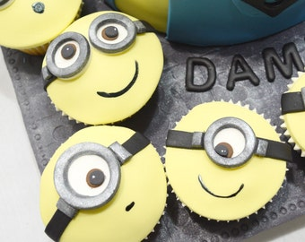 Fondant Minion Cupcake Toppers - assorted set of 12