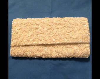 Vintage Beaded Clutch from Hong Kong. Off White. Pristine Condition