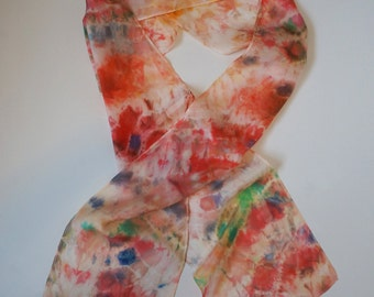 Colorful Hand dyed Silk Scarf