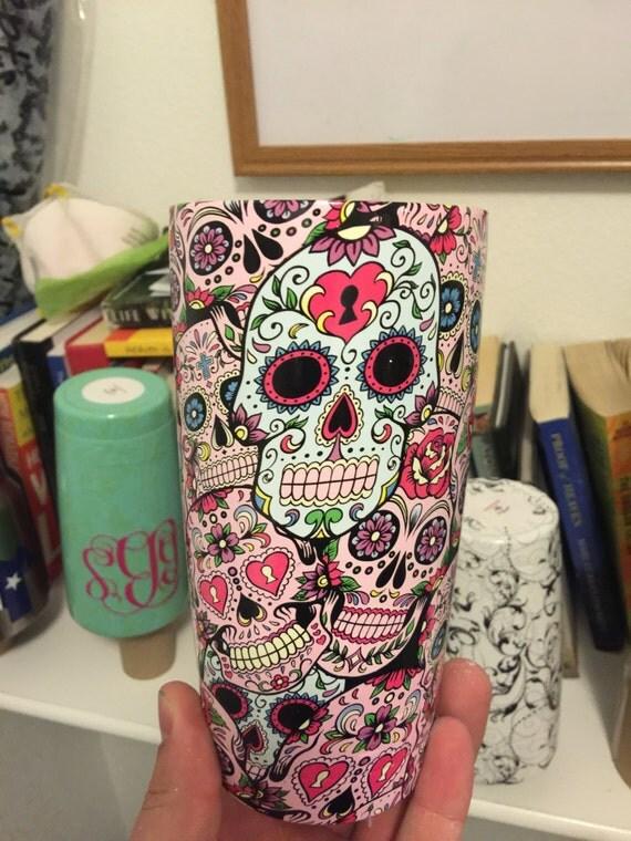 Sugar Skull Yeti Cup Custom Vinyl Decals - Sugar skull yeti cup