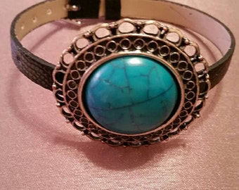 Brown Strap bracelet with turquoise