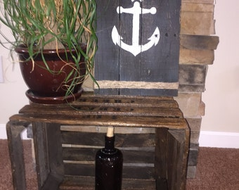 Rustic, Reclaimed Wood, Fence Style Anchor Wood Sign, Wall Decor
