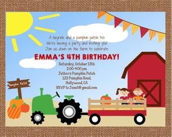 Pumpkin Patch Invitation, Pumpkin Patch Birthday, Pumpkin Patch Party, Pumpkin Patch, Hay Ride Party, Printable Invitation,FREE SHIPPING