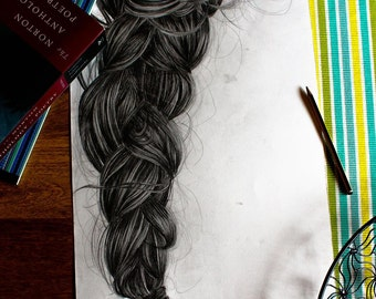ORIGINAL Braid Drawing One Of A Kind